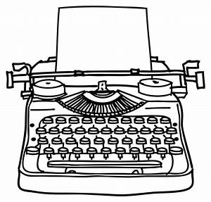 Typewriter clipart black and white - Pencil and in color ...