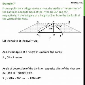 Example 7 - From A Point On A Bridge Across A River