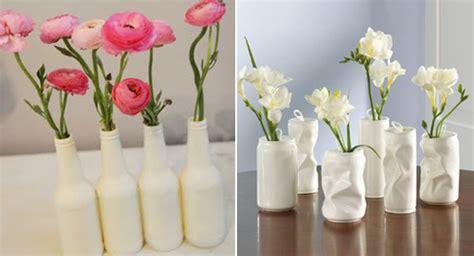 blumenvase weiss selber basteln aus dosen und glasflaschen
