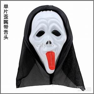 Long Tongue Ghost Mask Devil Horror Mask Scary Black Gauze ...