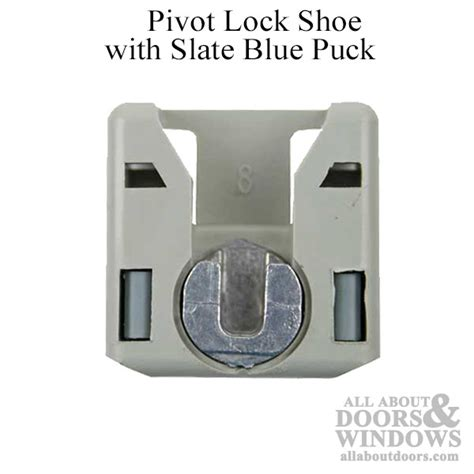 window covers for privacy pivot lock shoe with slate blue puck