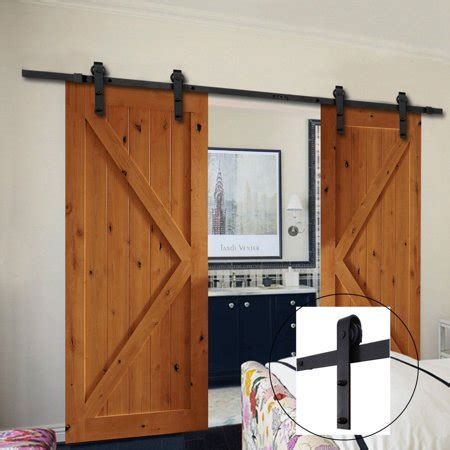 ft sliding barn door hardware track system kit double