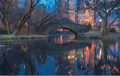 York Central Park Architecture Twilight Lights Desktop