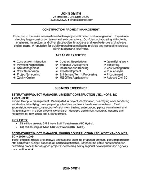 Exle Resume For Project Manager Construction by Project Manager Resume Template Premium Resume Sles