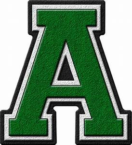 presentation alphabets green varsity letter a With varsity letter alphabet