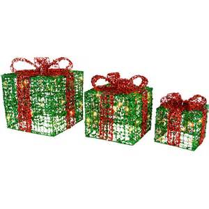 3 x festive glittery light up gift boxes christmas decoration green red