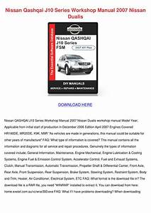 Nissan Qashqai J10 Series Workshop Manual 200 By