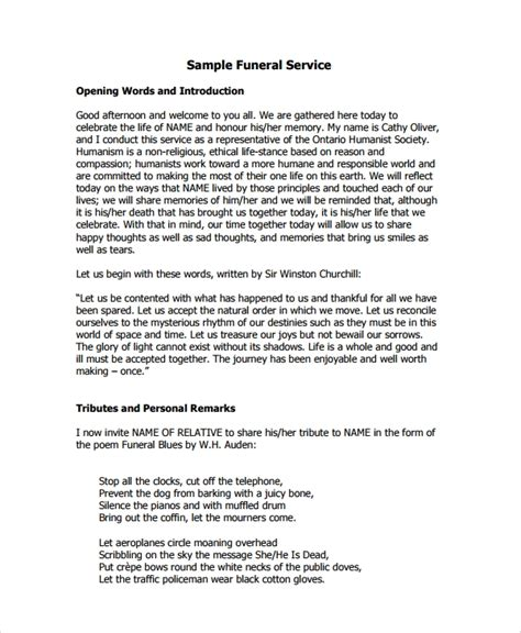 sample funeral service  documents   psd word