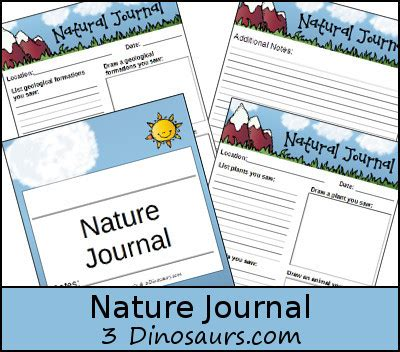 dinosaurs nature themed journal writing pages
