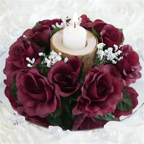 24 candle rings with silk roses wedding party flowers for
