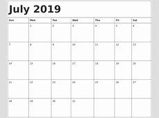 July 2019 Printable Calendar calendar month printable
