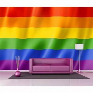 Deco Multicolore : papier peint g ant d co drapeau multicolore 250x360cm art d co stickers ~ Nature-et-papiers.com Idées de Décoration