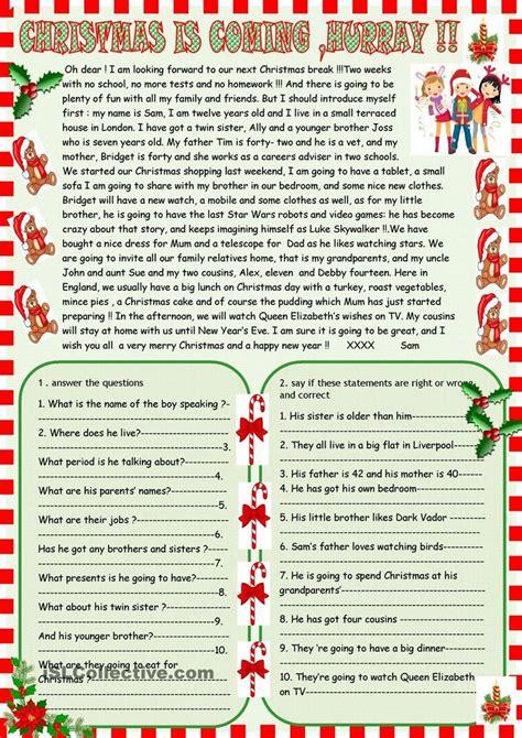 christmas  coming reading comprehension christmas