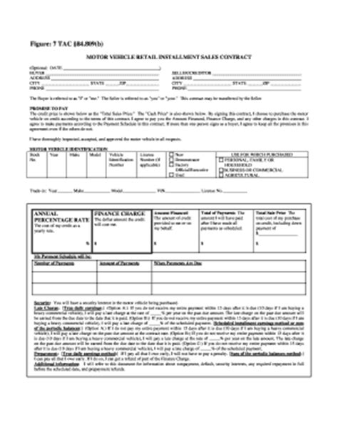 vehicle installment contract fill  printable