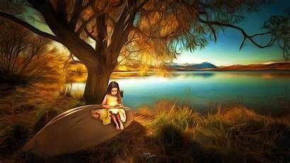 Fantasy Children Nature Landscape Tree Reading Under