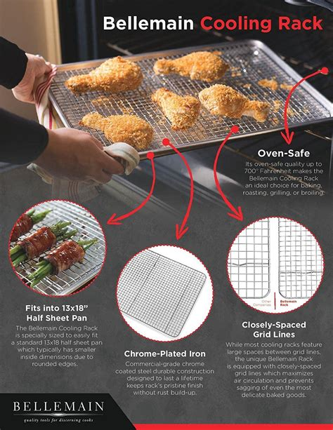 inch oven rack cooling baking pan rated sheet safe grid broiler bellemain tight chef cookie fried chicken pans