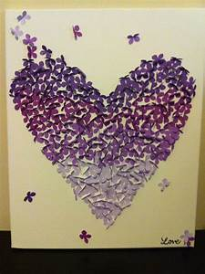 Finished product diy purple ombre butterfly canvas wall