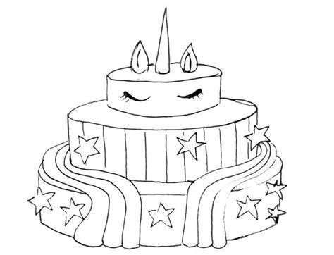 unicorn cake coloring pages  boys  printable
