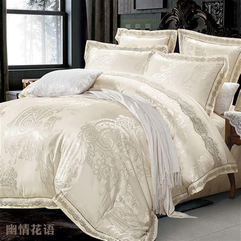 beige jacquard silk comforter bedding set king queen 4pcs