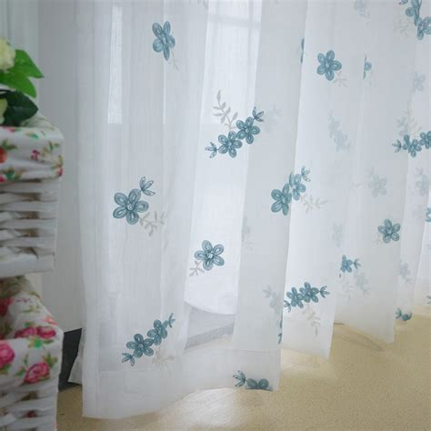 high end embroidery blue floral pattern sheer curtains