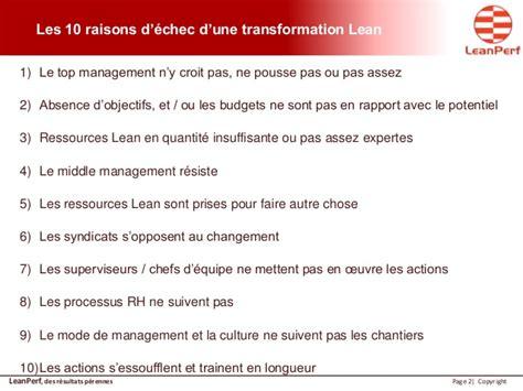 le lean management le lean management les 10 raisons d 233 checs d une transformation lea