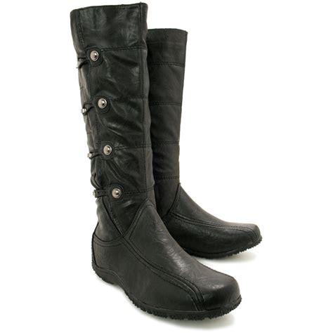 womens flat toggle knee high wide calf biker boots