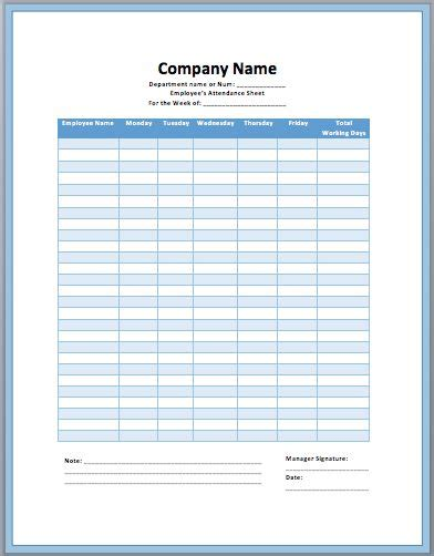 employee attendance sheet template attendance sheet