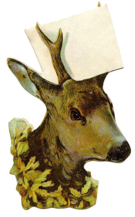 vintage christmas clip art deer head  sign place
