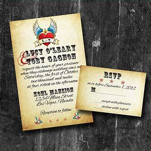 Rock n roll wedding invitations with rsvp personalized for Rock n roll wedding invitations uk