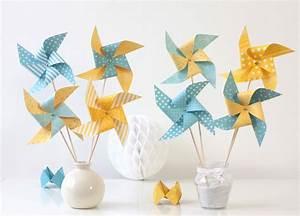 Moulin A Vent Deco Bapteme : 8 moulins vent dans les tons jaunes et bleus d coration de bapt me anniversaire chambre d ~ Melissatoandfro.com Idées de Décoration