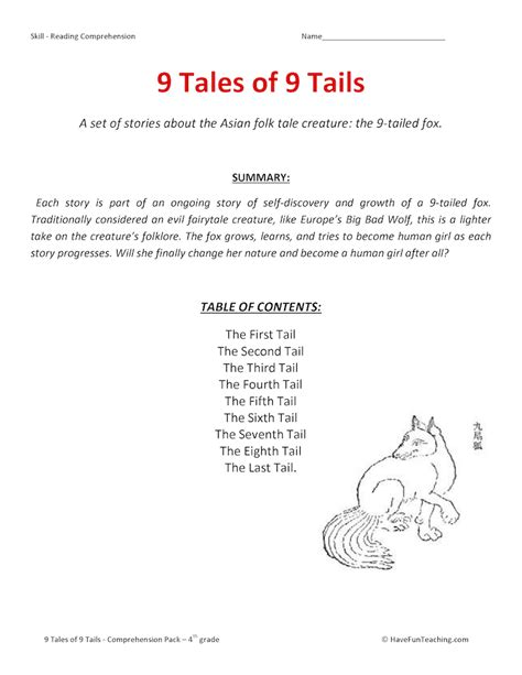 The Fifth Tail Fourth Grade Reading Comprehension Worksheet The Best Free Printable Worksheets