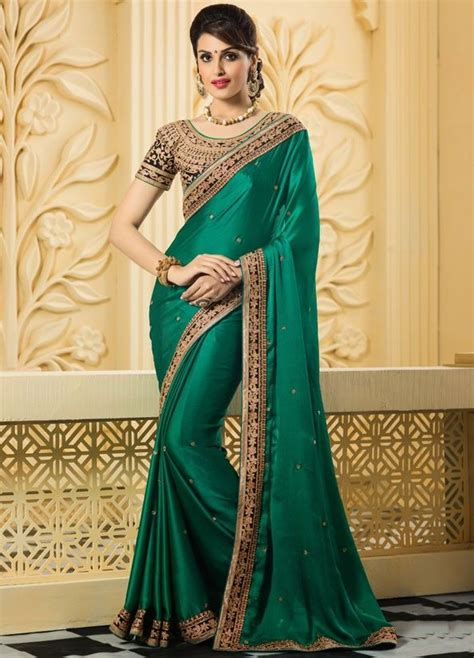 beauteous bottle green saree party wear sarees