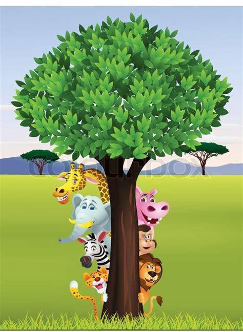 funny safari animal cartoon stock vector colourbox