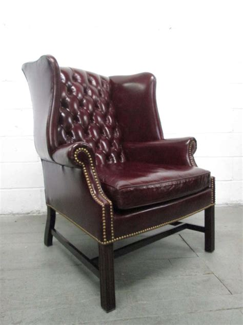 pair of vintage leather tufted wingback chairs at 1stdibs