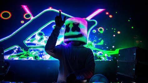 dj marshmello  colorful led light helmet wearing white