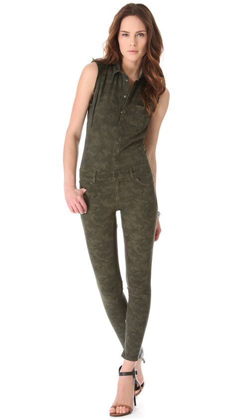 camouflage jumpsuit lyst superfine camouflage jumpsuit in green