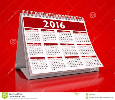 calendrier bureau photo calendrier de bureau 2016 illustration stock image