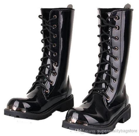 Men Knee High Boots Black Punk Patent Leather Lace