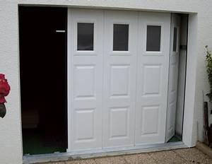 Porte de garage lateral bois pvc alu aluminium emf17 for Porte de garage coulissante avec porte de service pvc