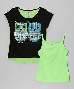 Beautees Neon Green Owl Tulip Tee Girls
