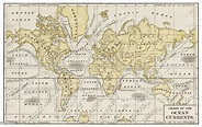 Chart Of Ocean Currents 1889 Stock Illustration - Download ...