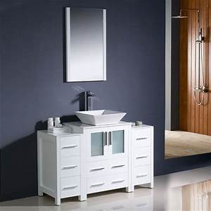 shop fresca torino white vessel single sink bathroom With 48 x 18 bathroom vanity