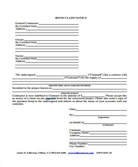 bond claim form 50 sle claim forms sle templates