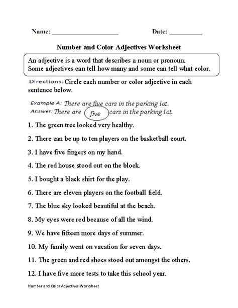 second grade adjective worksheets worksheets for all