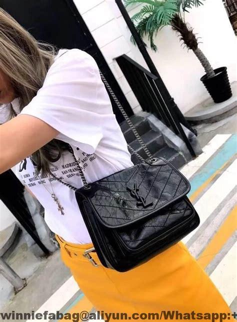 saint laurent baby niki chain bag  crinkled leather