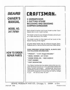 Craftsman 247797851 User Manual Chipper Shredder Manuals