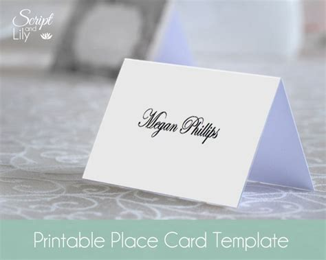 blank place  card template instant  editable