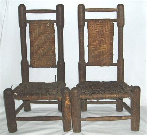 antique primitive child s chairs ladder back woven seat