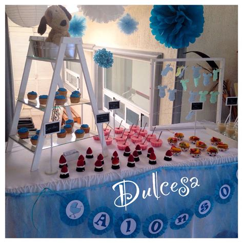 Barra de postres baby shower decoración mesa de dulces