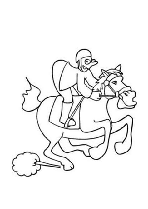ausmalbilder lustiges rennpferd mit jockey pferde